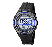 Armitron Men's Blue Accented Digital Chronograph Black Resin Strap Watch