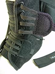 Speed lace closure: allows easier and faster application. Stabilizing straps: form figure-eight to protect and support ankle. Elastic cuff closure: enhances support from stabilizing straps. Low profile: will fit in any type of shoe. Bilateral...