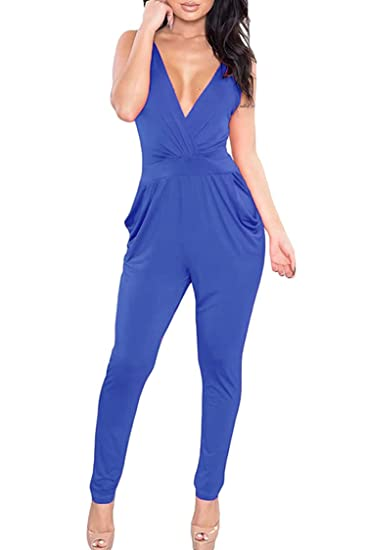 8b6c24baec7 Amazon.com  PinkWind Womens Sexy Sleeveless Open Back High Waisted Haroun Pants  Overalls XL Deep Blue  Clothing