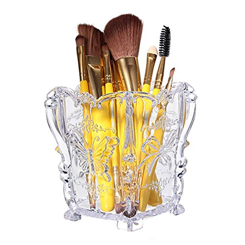 LuckyFine Acrylic Clear Container Makeup Case Box Cosmetic Storage Holder Organizer Brush Pencil Pen Containers Display Stand (Makeup Brush Holders compare prices)