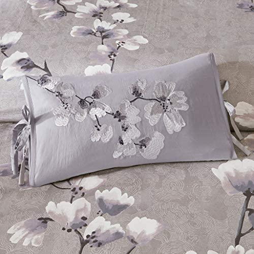 N Natori Sakura Blossom Embroidered Cotton Oblong Decorative Pillow Lilac 12×20