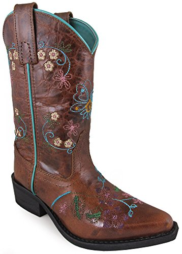 (Smoky Mountain Childrens Girls Florence Brown Leather Cowboy Boots 13.5 D)