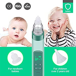 2 in 1 Baby Nasal Aspirator,Blackhead Remover – COCOBELA USB Electric Nose Sucker for Baby Infants with 3 Silicon Tip…