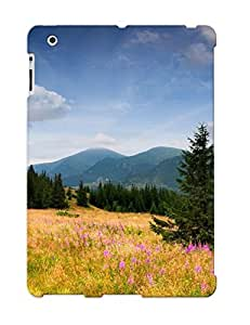 Ipad 2/3/4 Case Cover - Slim Fit Tpu Protector Shock Absorbent Case (yellow Grass In The Mountains )