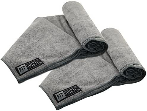 Fit Spirit Set of 2 Super Absorbent Microfiber Non Slip Skidless Sport Towels - Choose Your Color and Size