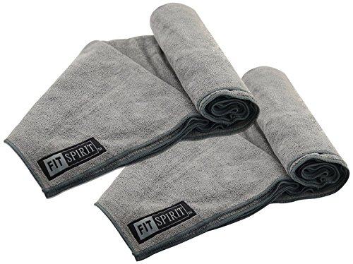 Fit Spirit Set of 2 Super Absorbent Microfiber Non Slip Skidless Sport Towels (15x24) - Gray Towels