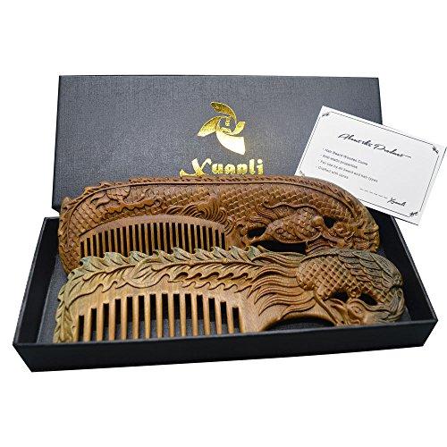 Price comparison product image Xuanli®2 pcs Natural SandalWood Comb Hair Care Anti Static Wooden Hair Massage Natural Brush Beard Comb (M014)