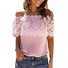 yulinge Womens Summer Casual Off Shoulder Lace Shirts Chiffion Tops Plus Size