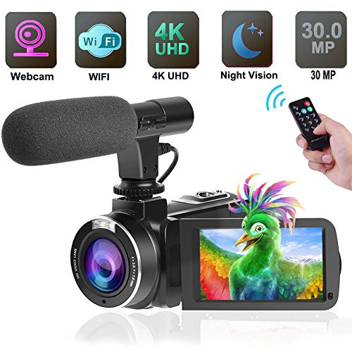 4K Camcorder Video Camera,Vlogging Camera for YouTube 30MP Camcorder 3.0 Inch Touch Screen Night Vision Pause Function with -