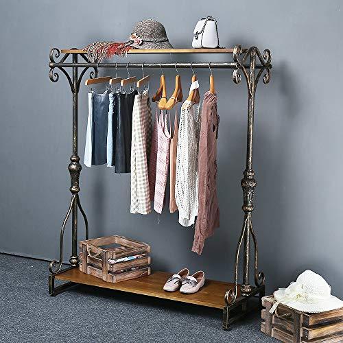 "Qianniu Industrial Clothing Rack Display Commercial Grade Heavy Duty Garment Rack with Shelves Vintage Steampunk Hat Rack Shoes Rack Cloth Hanger (47"")"