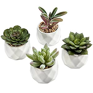 MyGift Mini Artificial Succulent Plants in Geometric Ceramic Planter Pots, Set of 4 63