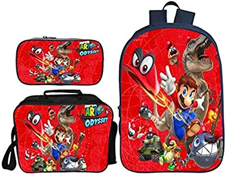 Mochila Super Mario Niño, Super Mario Bros Mochila De Estudiante Bolsa De Almuerzo Estuche para Lápices Escolar para Infantil Unisex Juego de 3 Bolsas Impresión 3D Backpack para Estudiantes (022): Amazon.es: Equipaje