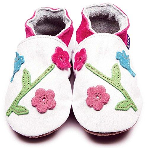 Inch Blue Mädchen Schuhe für den Kinderwagen aus luxuriösem Leder - Weiche Sohle - Kolibri