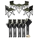ANA Store Enjoy Barbecue Party Curl Stand Iron Stell Frame Green Oxford Portable Folding Table Chairs Set Inside Outside Camp Beach Picnic with Carrying Bag