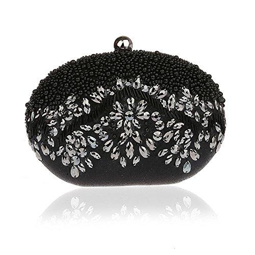 [Bling Bean Shape Pearls Rhinstone Wallet Hard Case Crossbody Bag Costume Ball...] (Black Widow Marvel Makeup)
