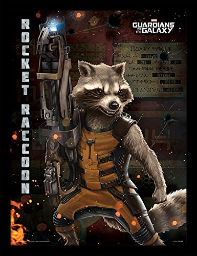 iPosters Guardians Of The Galaxy Rocket Raccoon Framed 30 x 40 Official Print - Overall Size: 36 x 46 cm (14 x 18 inches) Print Size: 30 x 40 cm (Raccoon Framed)