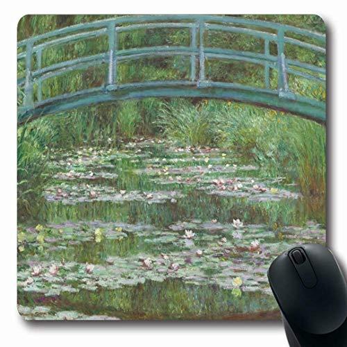 Ahawoso Mousepads Foot Painting Footbridge by Claude Monet Canvas Impressionism Impressionist Bridge Oil Water Design Oblong Shape 7.9 x 9.5 Inches Non-Slip Gaming Mouse Pad Rubber Oblong Mat