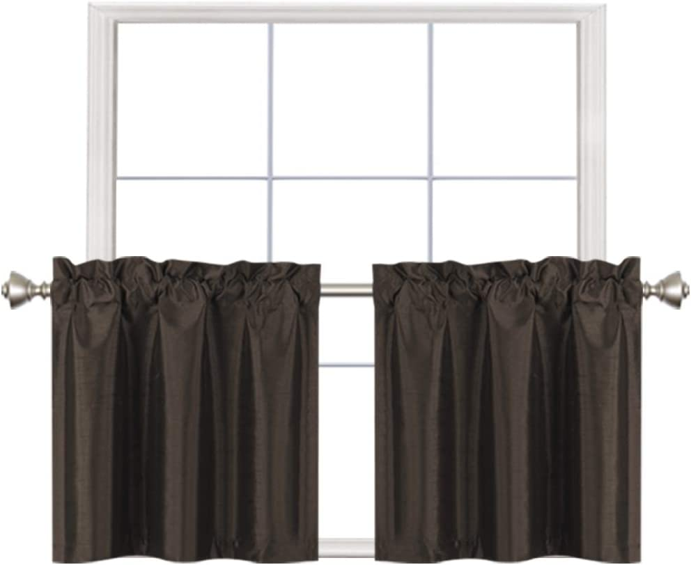 Home Queen Faux Silk Rod Pocket Tier Curtains for Small Window, Short Room Darkening Kitchen Curtains, Café Drapes, 2 Panels, 30 W X 24 L Inch Each, Solid Brown