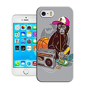 Yishucase-A lovely monkey listen to radio durable top Hard Cover for iPhone6 case inches case