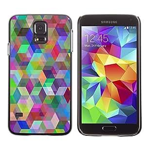KLONGSHOP // Cubierta de piel con cierre a presión Shell trasero duro de goma Protección Caso - Patrón Geometría del arco iris - Samsung Galaxy S5 //
