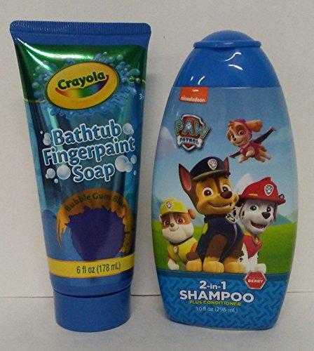 Mzb Bubble (Crayola Bathtub Fingerpaint Soap Bubble Gum Blue Bargain Bundle Paw Patrol Nickelodeon Shampoo Conditioner Berry)