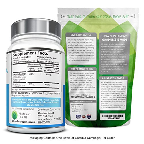 100% Pure Garcinia Cambogia Extract with HCA - 180 Veggie Caps - Natural Appetite Suppressant and Dietary Supplement - FREE of Fillers, Gluten, GMOs, Artificial Colors and Flavors