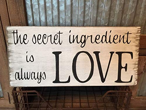 PotteLove Rustic Wood Sign The Secret Ingredient is Always Love Home Decor Kitchen Cook ()