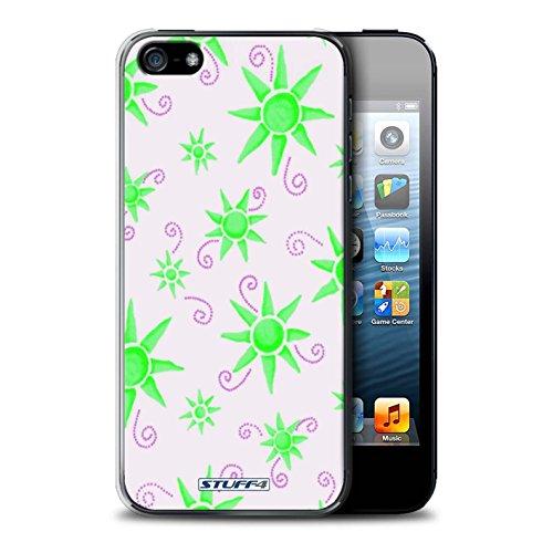 iCHOOSE Print Motif Coque de protection Case / Plastique manchon de telephone Coque pour Apple iPhone 5/5S / Collection Motif Soleil / Vert/Blanc