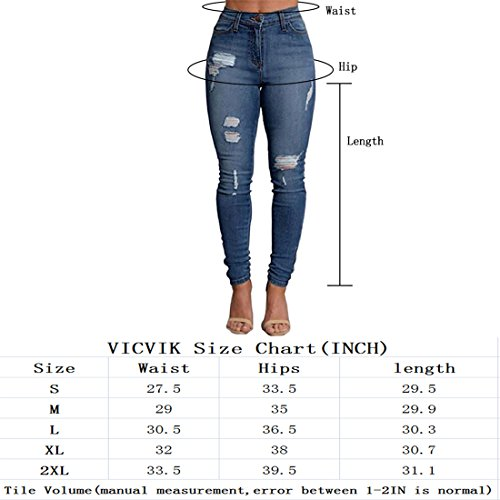 VICVIK Women Skinny Elastic Distressed Ripped Boyfriend Jeans Stylish Denim Joggers Pants (L, BLue1)