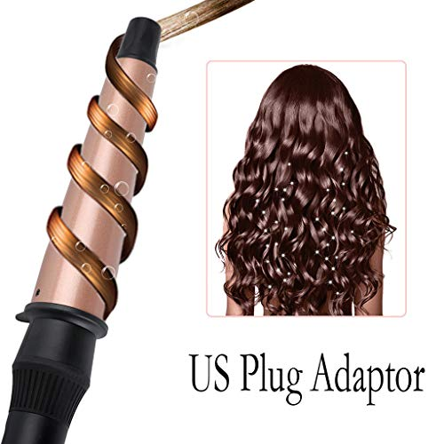 Inverlee Hair Curler Conical Curling Iron Single Tube Ceramic Glaze Cone Electric Hair Curly (Rose Gold)