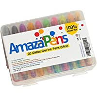 AmazaPens Glitter Gel Pens - Mini 20 Pack with Maximum Ink & Carry Case Best for Purse or School Bag for Sparkle on the Go Perfect Gift for Portable Colouring and Instant Inspiration