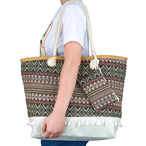 Zip Holiday for and Women Girls Large Bag Tote Oversized ZWOOS Shopping Bag Travel with Jungle Shoulder 3 Bohemia Beach pwPEEA