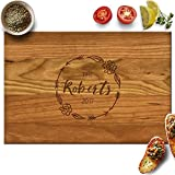 Froolu Floral Wood Personalised Cutting Board Wedding Couples Gift Deal (Small Image)