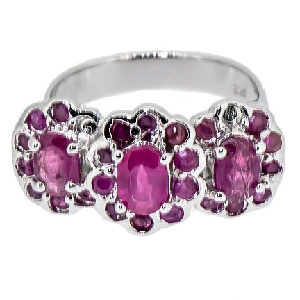 Rare Natural African Ruby Trinity Flower Ring (Resizable) 925 Silver Size 7 ()