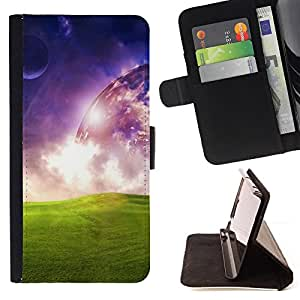DEVIL CASE - FOR Samsung Galaxy S4 IV I9500 - Universe Space Alien Planet Art Green Grass - Style PU Leather Case Wallet Flip Stand Flap Closure Cover