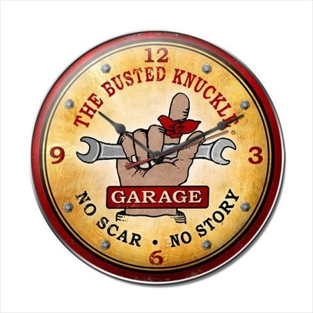Past Time Signs BUST046 Busted Knuckle Garage Automotive Clock from Past Time Signs