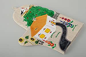 Linen Oven Mitt With Embroidery