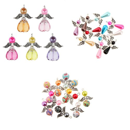 (Homyl 25 Pieces Assorted Dancing Angel Wings Charms Pendants Faceted Acrylic Heart Teardrop Beads Angel Wings fit Necklace Earring Bracelet Crafts Jewelry Making Findings)