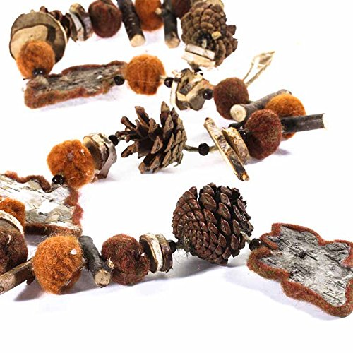 Factory Direct Craft Rustic Autumn Leaves, Pinecones and Felted Accents Garland