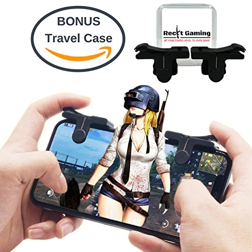 Mobile Game Controller for iPhone and Android | Play PUBG, Fortnite, Knives Out, Rules of Survival | + BONUS Travel Case – Shoot and Aim Phone L1R1 Button Triggers (1 Pair)