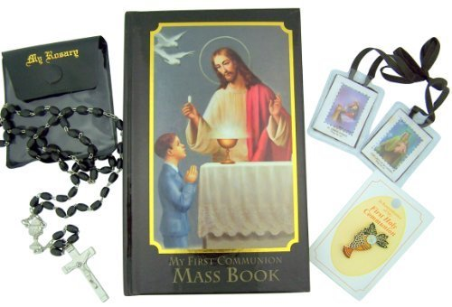 (Boy First Communion Gift Set with Missal, Rosary, Lapel Pin and More)