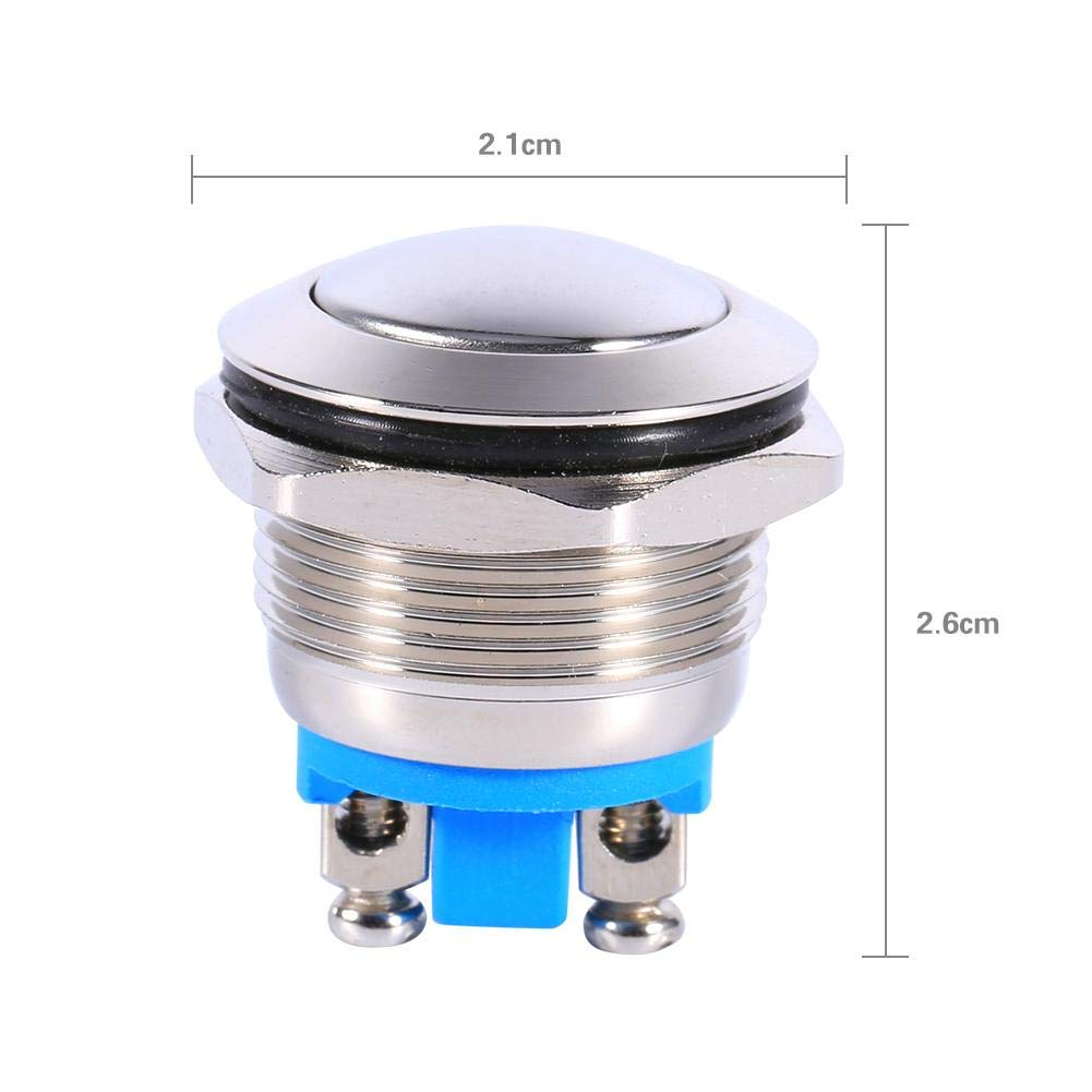 12V 3A Momentary Push Button Switch Keenso Waterproof Car Auto Momentary Speaker Horn Push Button Metal Toggle Switch IP65 IK08 19mm