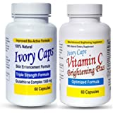 Ivory Caps Skin Whitening Lightening Support Pill + Vitamin C Brightening Plus