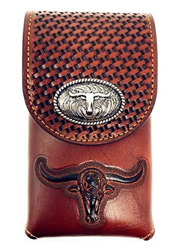- Western Cowboy Tooled Basketweave Leather Longhorn Concho Belt Loop Cellphone Holster Case in 2 Colors (Brown)