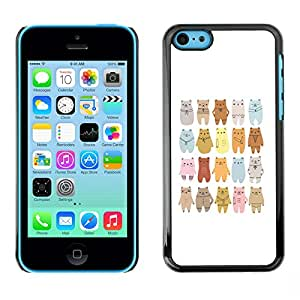 LASTONE PHONE CASE / Slim Protector Hard Shell Cover Case for Apple Iphone 5C / Cool Bear Art Drawing Lineup Cartoon
