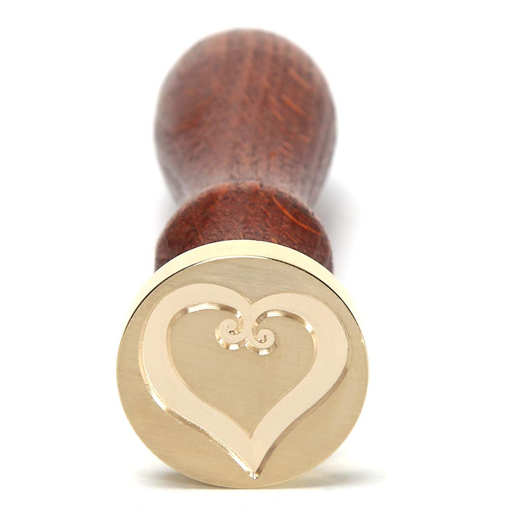 Demiawaking Timbro Sigillo Ceralacca con Manico in Legno Sigillo Ceralacca Matrimonio DIY Decorazioni per Biglietto dinvito Buste San Valentino Matrimoni Chiave del cuore