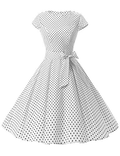 (Caissen Women's 50s Vintage Retro Cap Sleeve Rockabilly Cocktail Dress Floral Print Dots Swing Party Gown with Belt White Small Black Dots Size)