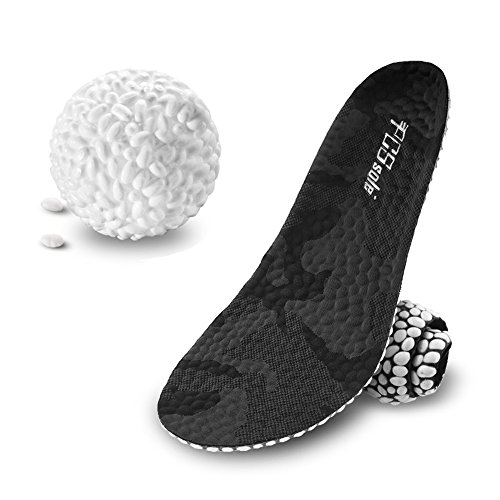 PCS Sole Insoles Unisex Sport Shoe Insoles, Plantar Massage Cushioning Arch Support Shock Absorbent Shoe Inserts for Men and Women (Grey camo, L US 10-12) (Foam Padding Shock Absorbent)