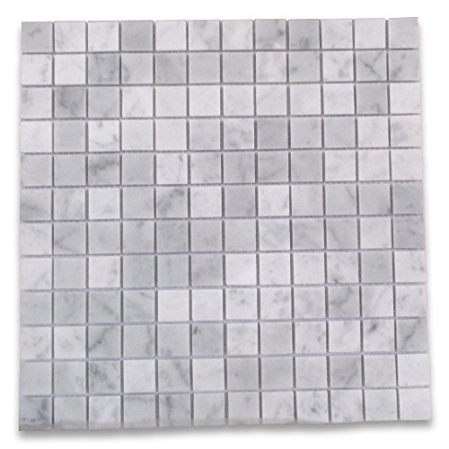 Square Marble Mosaic - Carrara White Italian Carrera Marble Square Mosaic Tile 1 x 1 Polished