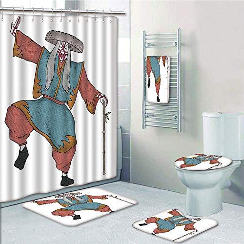 Bathroom 5 Piece Set shower curtain 3d print,Kabuki Mask Decoration,Cultural Asian Character Posing Traditional Hat Makeup and Costume Decorative,Multicolor,Bath Mat,Bathroom Carpet Rug,Non-Slip,Bath